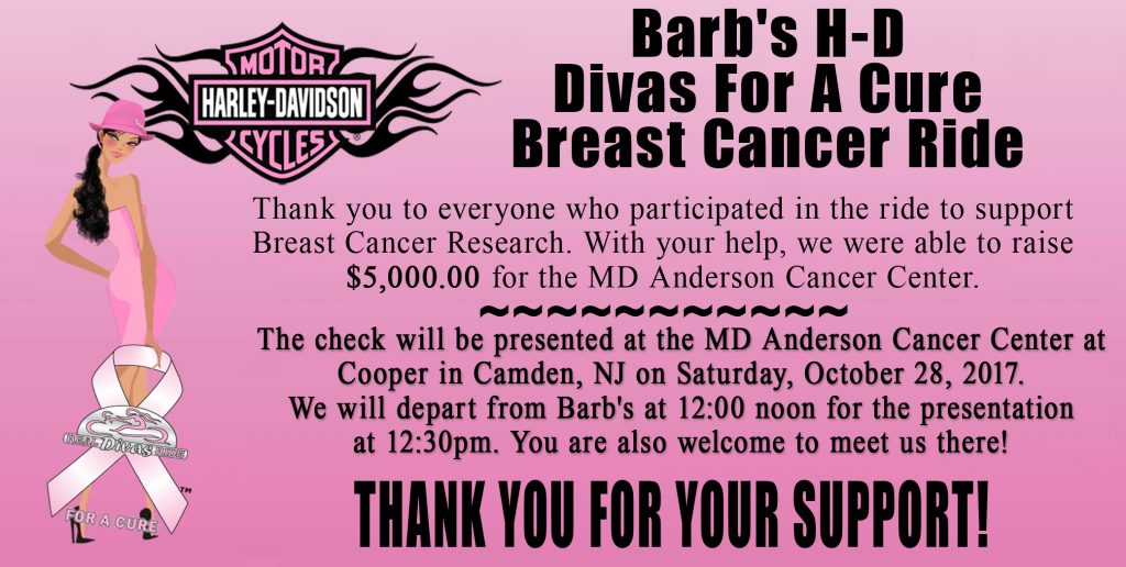 2017 Divas For A Cure Check Presentation to MD Anderson Cancer